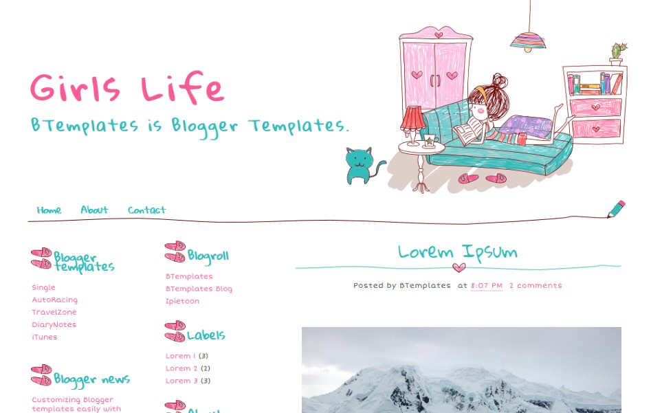 Template for a Girl's Blog